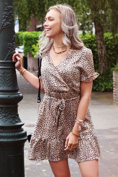 Overslag jurk luipaardprint