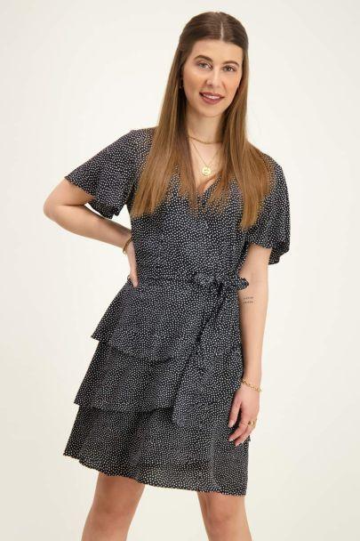 Zwarte jurk met stippenprint
