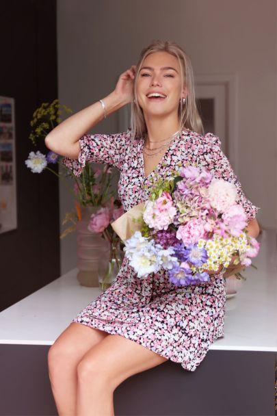 Wrap dress pink floral print