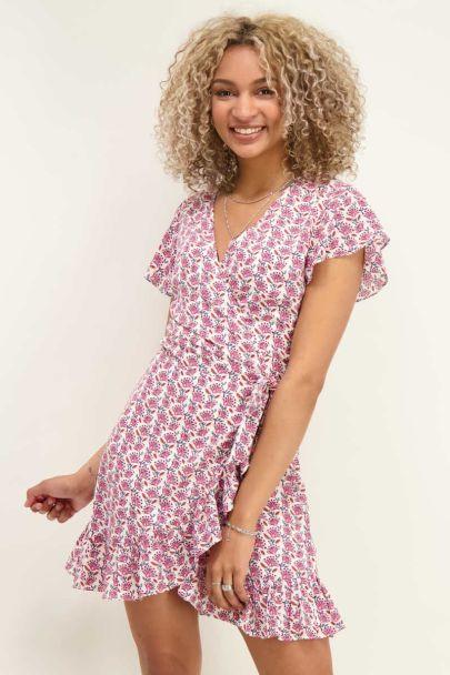 Pink wrap dress with boho print