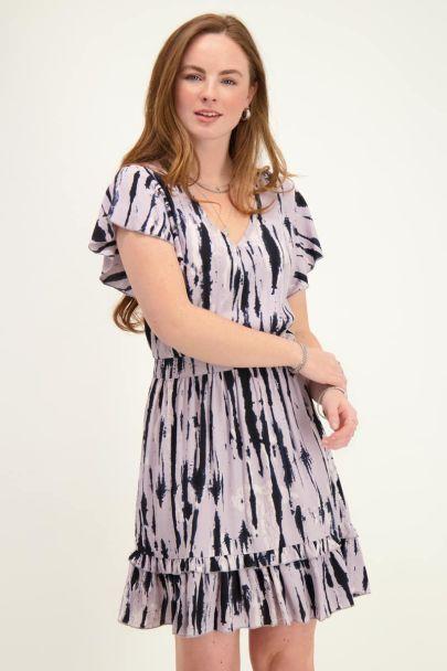 Paars jurkje tie-dye print