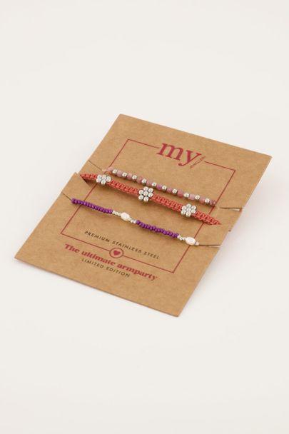 Lila und orange Perlen Armband Set