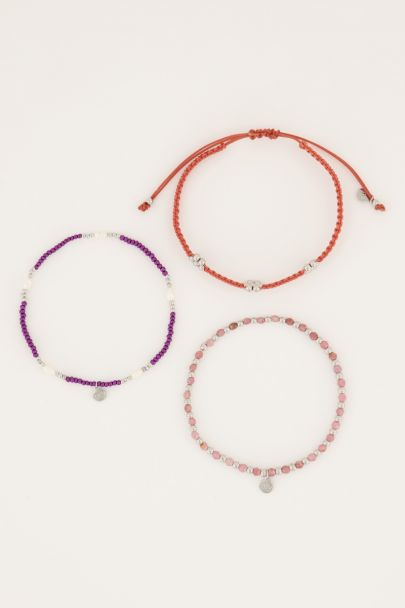 Paars met oranje kralen armbandenset