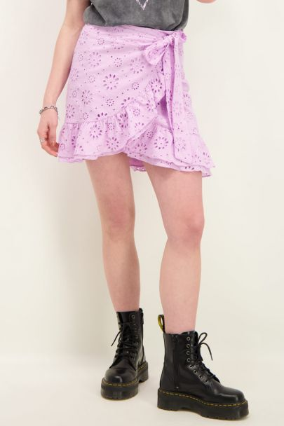 Lilac wrap skirt embroidery