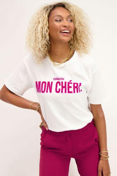 White T-shirt with purple mon chéri text