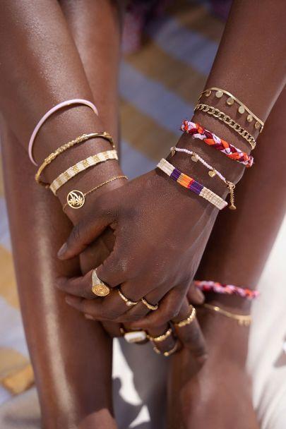 Paars bohemian armbandje gestreept