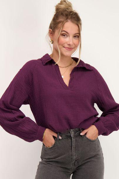 Donkerpaarse katoenen blouse