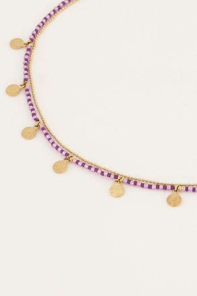 Paarse ketting met muntjes & kralen | My Jewellery