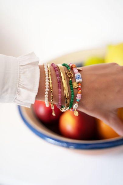 Paarse kralen armband met slotje