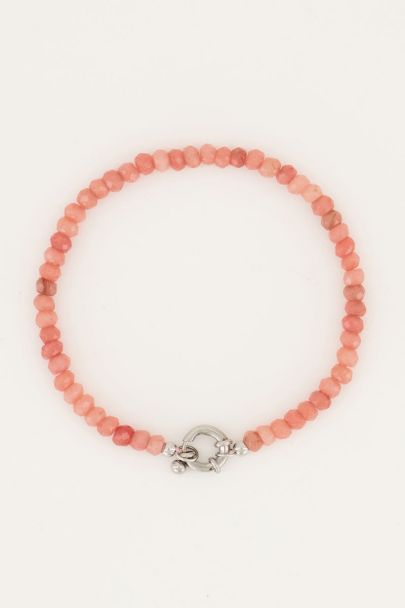 Peach kralen armband met slotje | My Jewellery