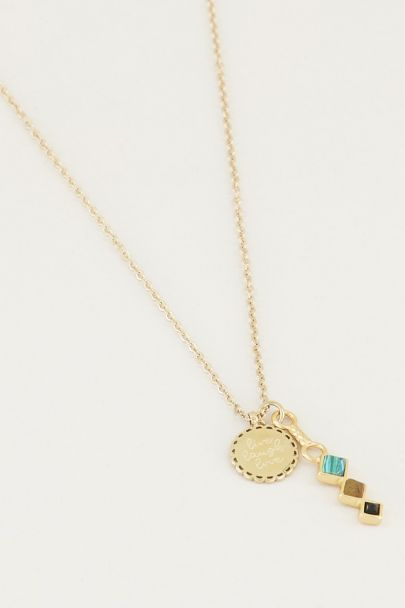 Necklace with charm & dark gemstones, necklace with effect