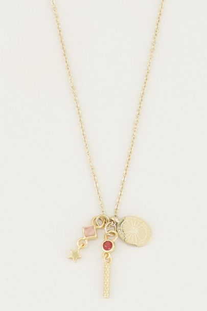 Necklace with pink quartz & red jade, necklace with charms