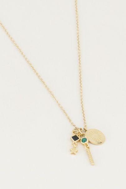 Necklace black onyx & malachite, necklace with gemstones