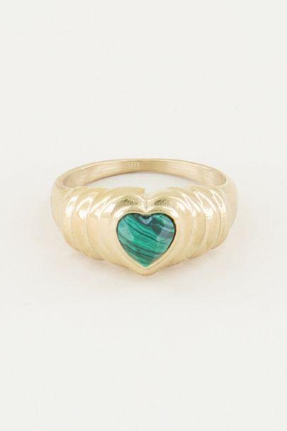Ring with malachite heart, malachite gemstone ring