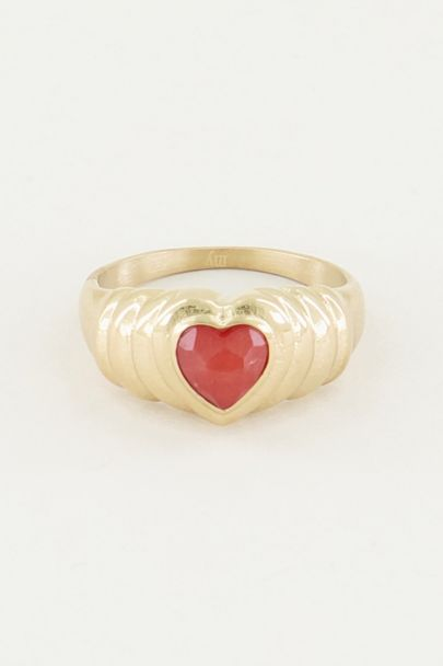 Ring red jade hartje, ring met jade My Jewellery