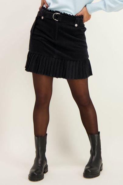 Zwarte rib rok met riem