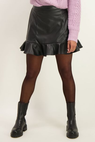 Leather look skirt with ruffle