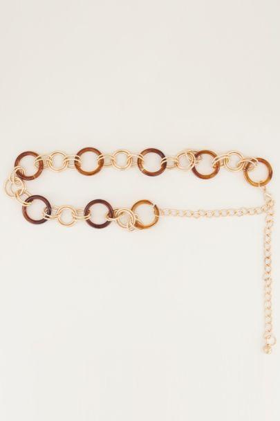 Bruine kettingriem ringen, taille riem My jewellery