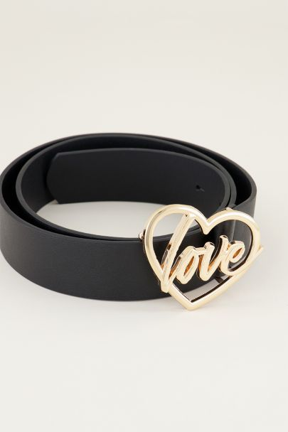 Riem love gesp | Leren riem | Zwarte riem My jewellery