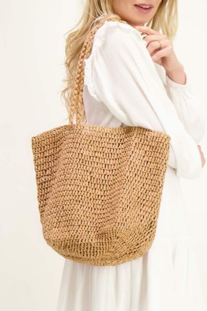 Beige braided bag