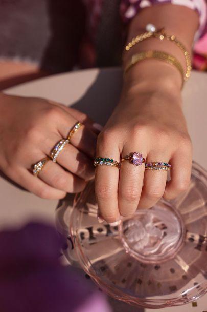 Vintage ring groen kristal