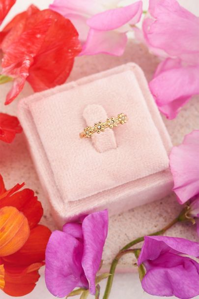 Ring with flowers & stones