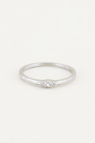 Ring vintage wit steentje, ringen met steen