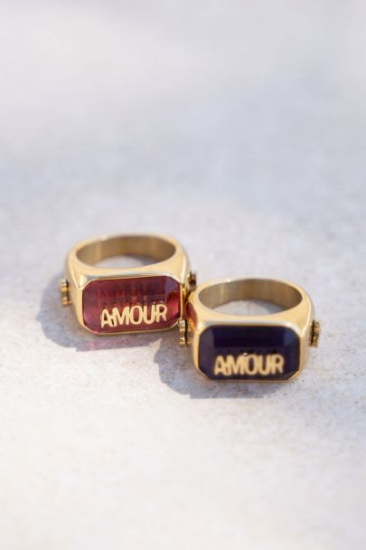 Donkerroze statement ring amour