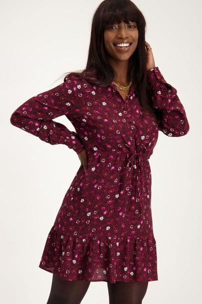 Bordeaux rode jurk met paisley print