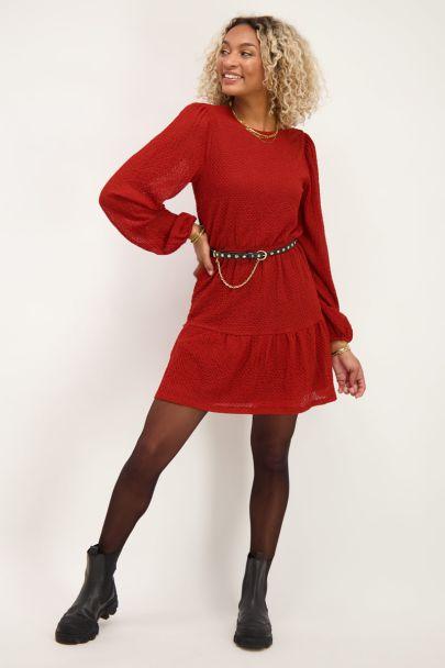 Rode jurk met lange mouwen & structuur