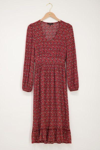 Red Bohemian print midi dress