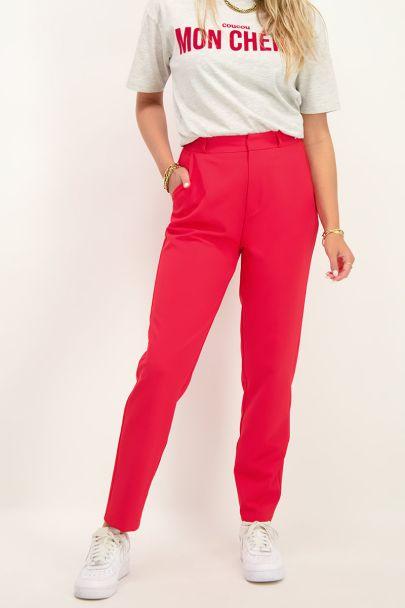 Rode pantalon met persvouwen