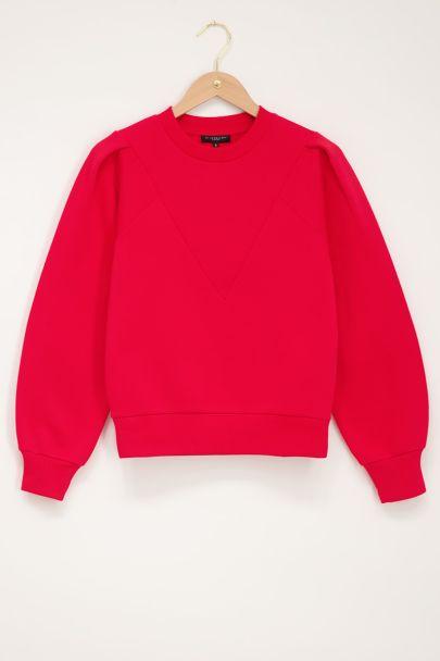 Rode sweater met V shape