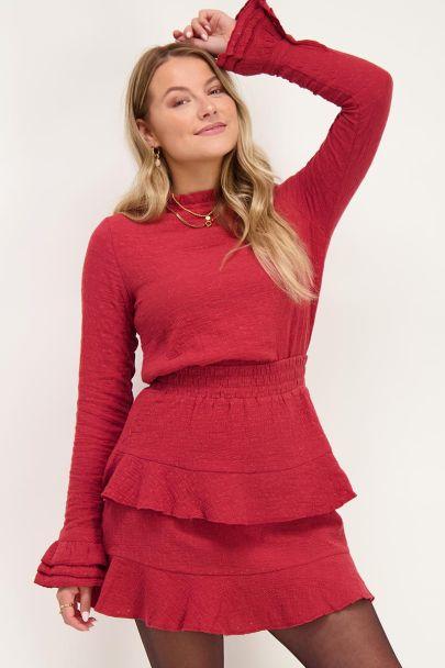 Rode top met embroidery & ruffle