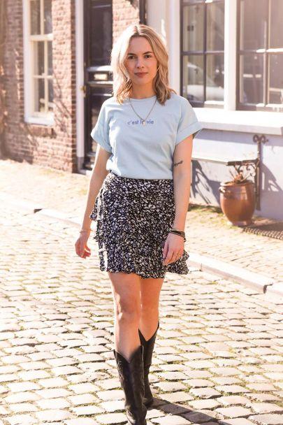 Blauwe rok met ruffles & luipaard