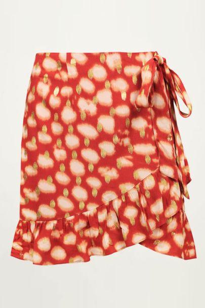 Rode overslagrok met gouden stippen, rok met overslag