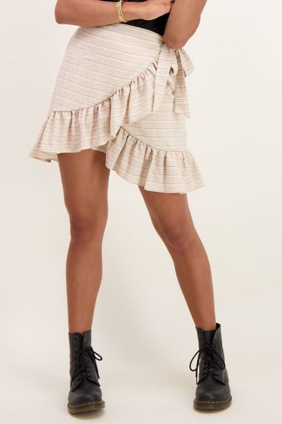 Beige wrap skirt with embroidery
