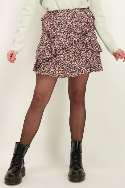 Multikleur rok met ruffles en bloemenprint