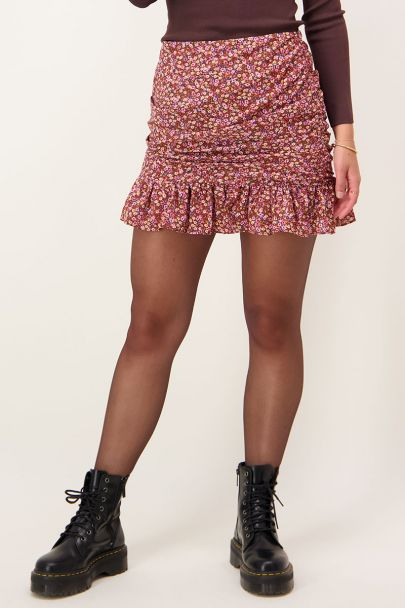 Skirt with floral print & pleats