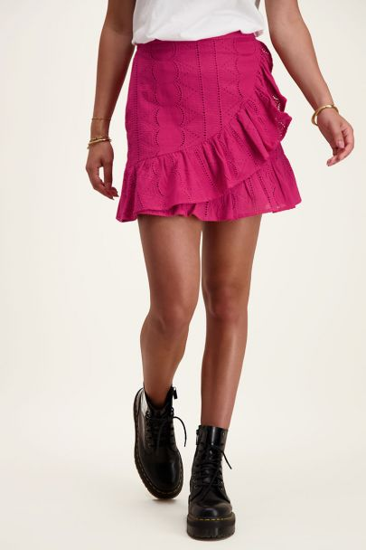 Dark pink wrap skirt with embroidery