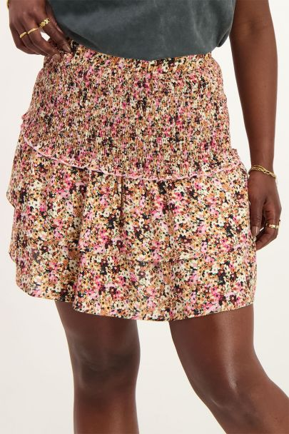 Skirt with retro floral print