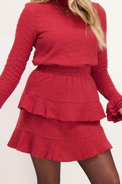 Rood rokje met embroidery & laagjes