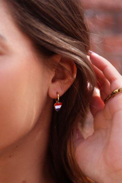Rood-wit-blauwe oorbellen hartjes