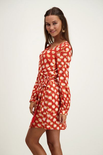 Red wrap dress gold dots