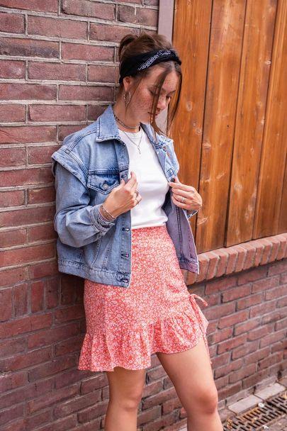 Red flower print skirt & drawstring