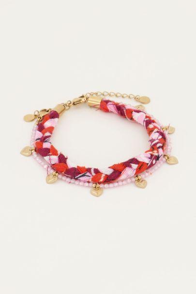 Roze armband set kraal&vlecht