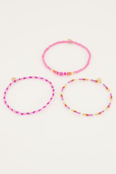 Roze armbanden set van kralen