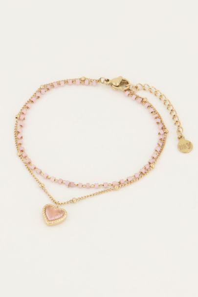 Roze armbandje dubbel kralen hart