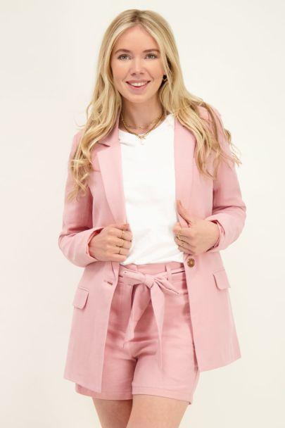 Roze blazer linnen look