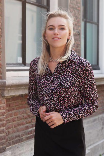 Roze blouse luipaard print